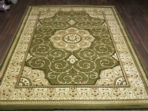 Woven Backed Green Traditional Carved Rug 160cm x 230cm Approx 8x5 Top Quality